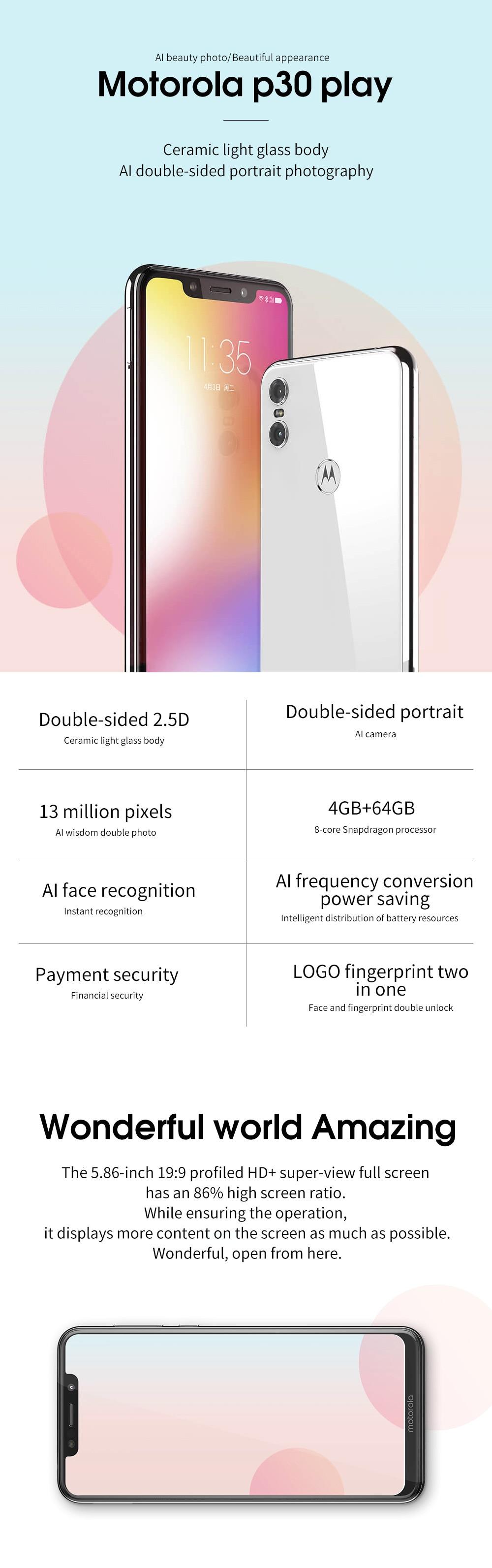 H240847a6497c409ba282318d6d8ef349c Moto One Mobile Phone 4GB 64GB AI Camera Smartphone 2.5D Double-sided Glass Body Octa Core Phone Support Face Fingerprint Unlock