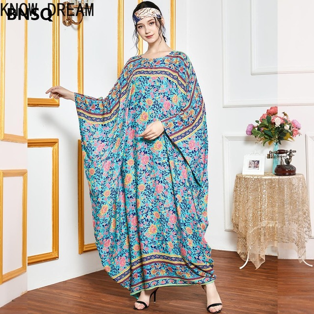 KNOW DREAM Oversized Loose Bat Sleeve Robe Muslim Hui Dubai Long Sleeve Women Dress Summer Dress 1