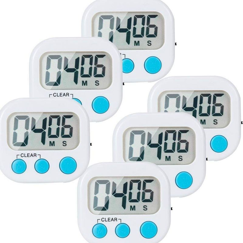6 Pack Small Digital Kitchen Timer Magnetic Back And ON/OFF Switch Minute Second Count Up Countdown Kitchen Timers     - title=