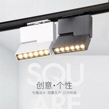 6 Вт 12 Вт Креативный светодиодный светодиод для трекового светильника прожектор для гостиной дома COB отслеживание света квадратный выставочный зал настенный трек свет