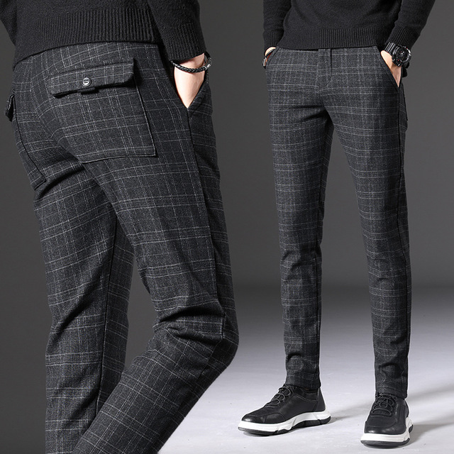 Mens Slim Fit Skinny Long Pants Plaid Business Formal Dress Casual Trousers Plus
