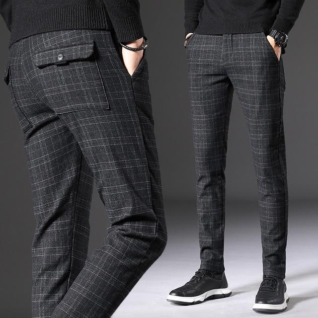 2020 Autumn Spring Suit Pants Men Slim Fit Fashion Black Grey Plaid Formal Dress Pants Plus Size Business Casual Mens Trousers