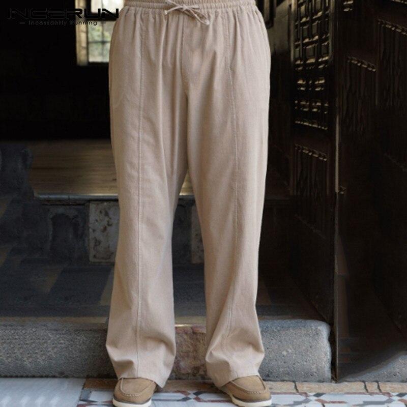 INCERUN Cotton Linen Men Pants Streetwear Elastic Waist Joggers 2020 Baggy Solid Color Casual Pants Vintage Retro Trousers Men