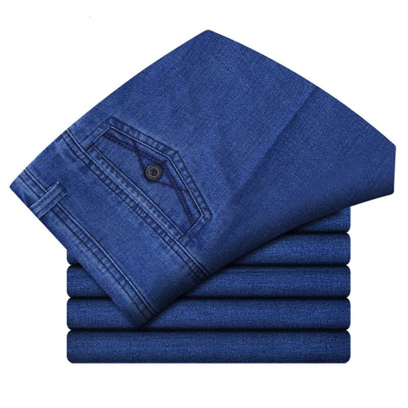 Size 30-45 Men Business Jeans Classic Male Stretch Jeans Plus Size Baggy Straight Men Denim Pants Cotton Blue Work Jeans Men