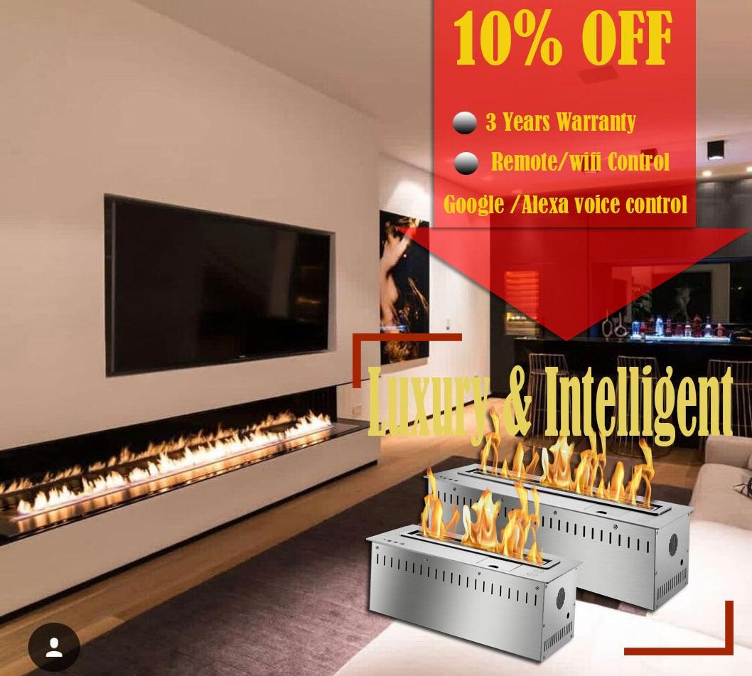 On Sale 60 Wifi Real Fire Indoor Intelligent Smart Bio Ethanol Electric Fireplace Heater