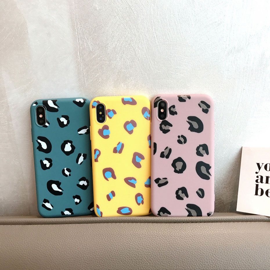 silicone luxury Case for iPhone xr 7 7plus and iPhone 8 8plus cover leopard pattern fitted case anti knock soft leopard print