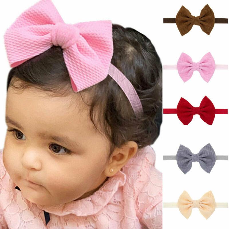 7PCS//Set Colors Newborn Baby Girl Headband Infant Toddler Bow Hair Band Gift