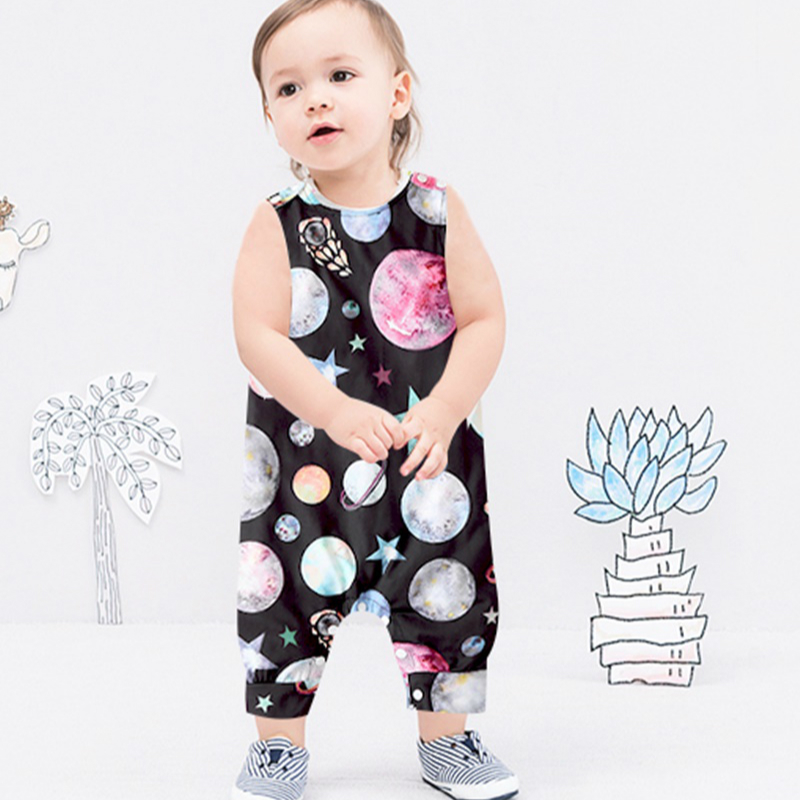 Baby Clothing Newborn Baby Boy Girl Romper Sleeveless Jumpsuit Outfit Clothes Animal Dinosaur Print Color Summer Infant Rompers 6
