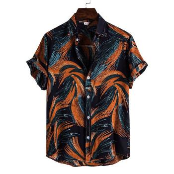 2021 letnie koszule dla mężczyzn ubrania z krótkim rękawem hawajska plaża koszulka w kwiatki bluzka Casual sukienka z golfem koszula koszulka homme tanie i dobre opinie CN (pochodzenie) COTTON POLIESTER KOSZULE CODZIENNE krótkie summer Wykładany kołnierzyk Jednorzędowe REGULAR men summer shirts