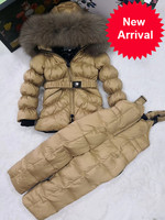 down Children Winter Jacket jackets & PANT duck down Fur hooded girl snowsuit boy Suit set outerwear ski suit famous