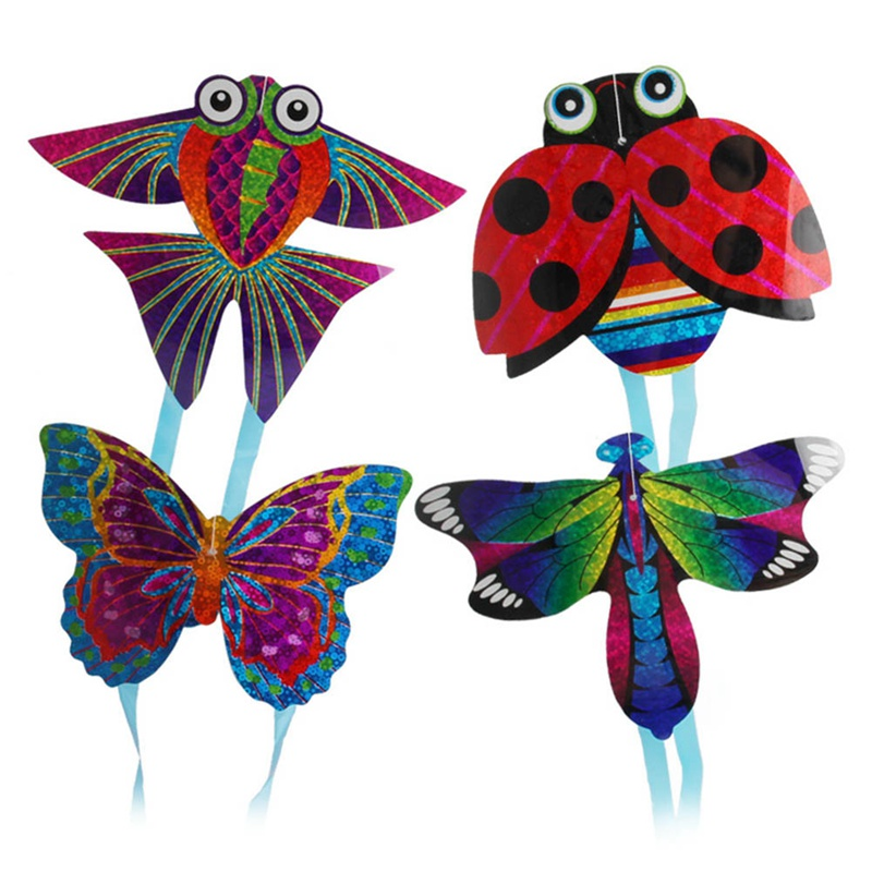 1 Pc Outdoor Fun Sports Kite Flying Toys For Children Interactive Toy Cartoon Aircraft Butterfly Insect Mini Kites Random