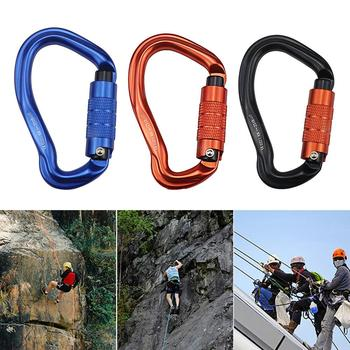 25KN Climbing Carabiner D Shape Climbing Buckle Lock Security Safety Master Screw Lock Buckle Equipement outdoor rock climbing safety buckle 25kn screw lock carabiner hook master climbing carabiner professional climbing accessories