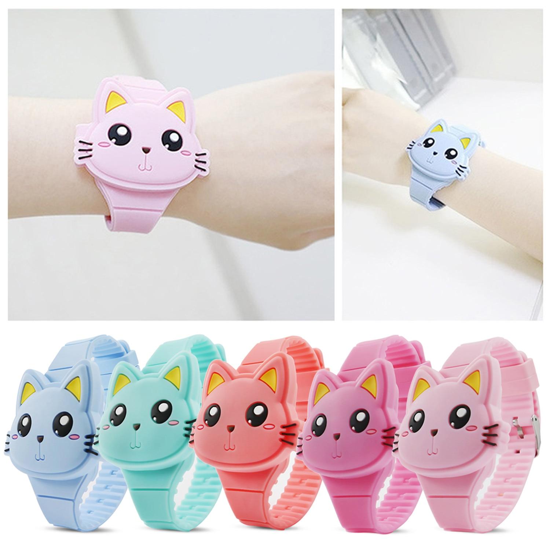 Kids Flip Cover Rubber Watch Cute 3D Cartoon Animal Cat Shape Clamshell LED Electronic Digital Wrist Watch Toy Student Clock
