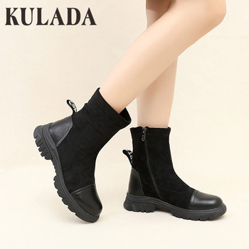 KULADA New Boots Women Fashion Suede Leather Boots For Women Suede Flat Mid-Calf Boots Spring Autumn Women Boots Black Shoes concise solid color and suede design women s mid calf boots