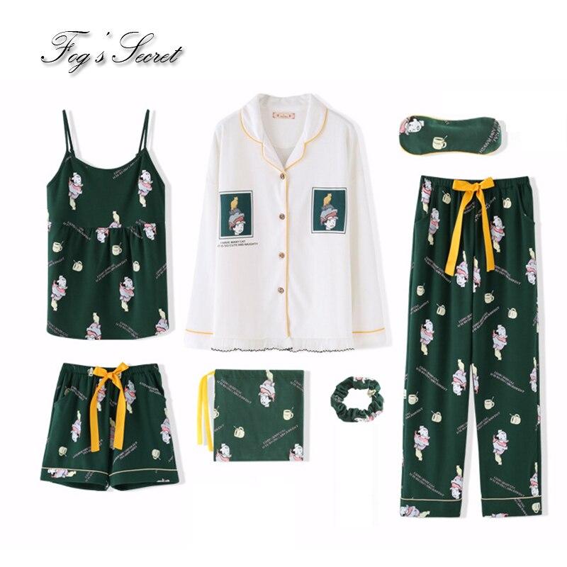 7 Pcs Women Pajamas Sets Loose Housewear Health Cotton Short Tank Tops Trousers Sleepwear Pijama Feminino