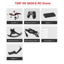 XK Q838-E 2MP 2.4G RC Drone RTF Wifi HD 720P Camera With Altitude Hold Gesture Mode 360 Degree Roll Following Helicopters Toys xk x300 5 8g hd 720p fpv quacopter rtf white