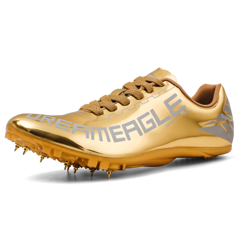 Professional Track and Field Shoes Men Gold White Light Weight Spikes Track Shoes Men Size 35-45 Running Racing Math Sneakers