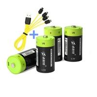 ZNTER 1,5 V 4000mAh batería recargable Micro USB batería D Lipo LR20 batería de polímero de litio carga rápida a través de Micro cable USB
