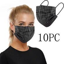 Masque facial jetable à carreaux pour adultes, avec boucles auriculaires, 3 plis, respirant, noir, 10 pièces
