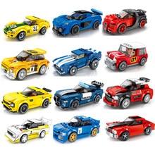 Cidade de corrida carro velocidade campeões esportes modelo blocos de construção tijolos clássico rali super racers f1 grandes veículos kits