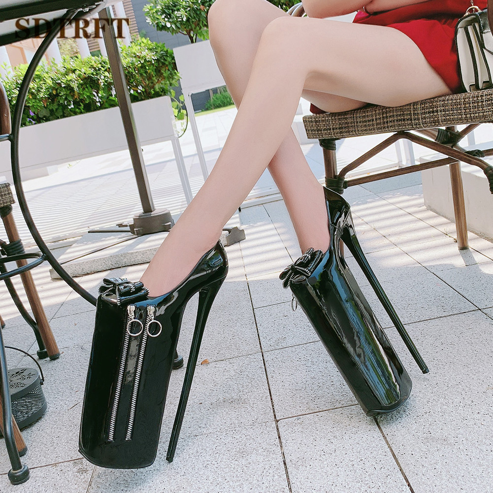 SDTRFT shoes woman Patent Leather Gladiator Pumps <font><b>30cm</b></font> thin <font><b>heels</b></font> Nightclub Steel Pipe Dance Waterproof Stilettos Big size:35-46 image