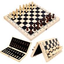 Большой магнитный деревянный складной Шахматный набор, валяная игровая доска 29/34/39 см, внутреннее хранилище, подарок для взрослых и детей, С...