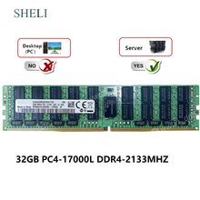 Memória registrada do lrdimm de sheli 32 gb 4drx4 PC4-17000L 2133 mhz 288pin ecc