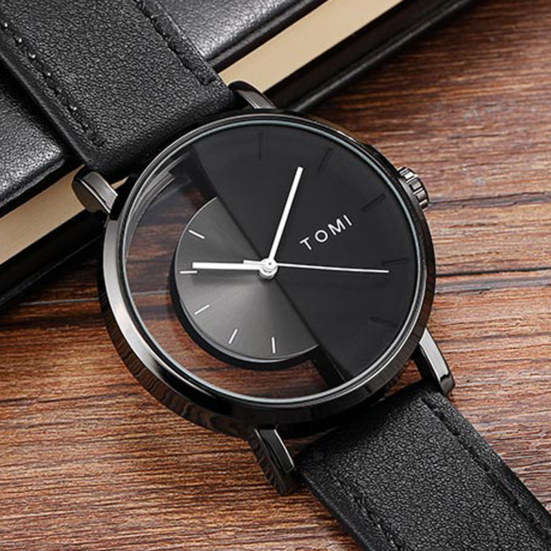 Unique Watch Creative Half Transparent Unisex Watch For Men Women Couple Geek Stylish Leather Wristwatch Fashion Quartz-watch