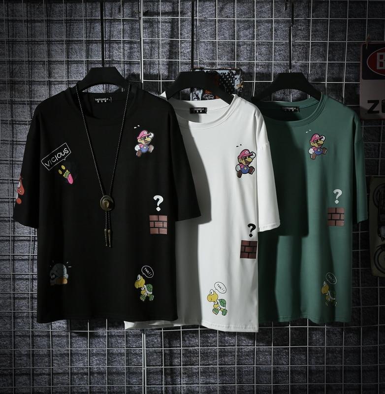 New Summer Men's T-Shirts Hop Hip Harajuku Cotton Round Collar Half Sleeve Tops Tees Fashion Streetwear Sports Boy's T Shirts
