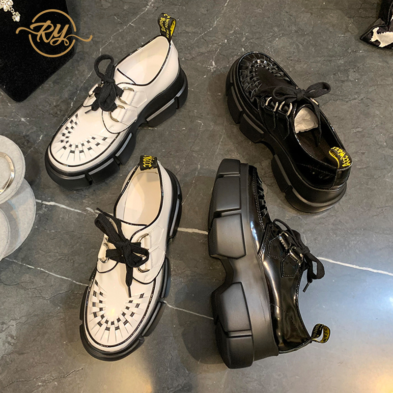 RY-RELAA women shoes fashion Genuine Leather white sneakers ins style platform wedge sneakers tenis feminino women casual shoes