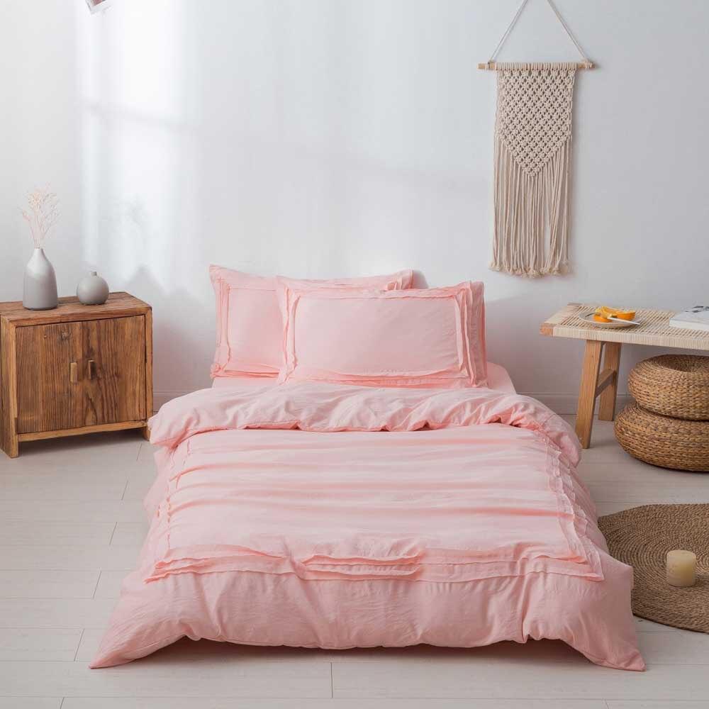 Home Textiles Comforter Bedding Set soft Lace Bedclothes Pink Wedding Duvet Cover Bed Sheet Pillowcase Bedding Sets Bed Linen