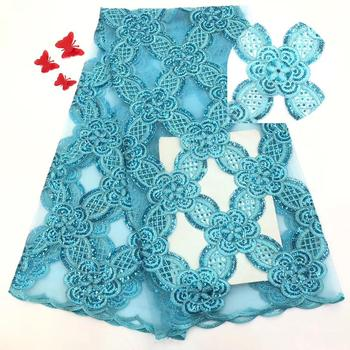 African Lace Fabric 2019 Embroidery Nigerian Beads Lace Fabric.High Quality Stones French Tulle Lace Fabric For Women  DYS251