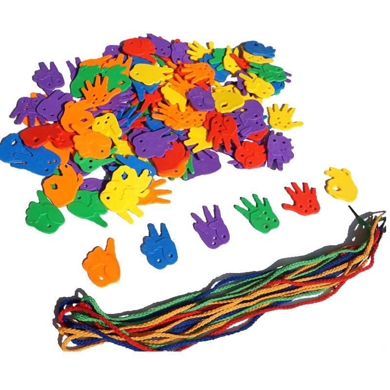 Little Hand Finger Gesture Lacing Toys Kids Activity DIY Set Fine Motor Skills Montessori Preschool Educational