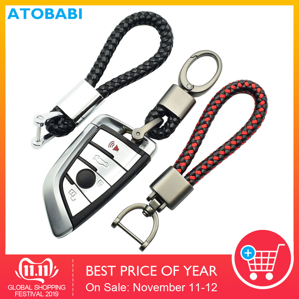 Leather + Alloy Car Key Ring Keychain Holder Room Keyring Moto Key Chain For BMW Mini Cooper VW Passat Golf Ford Honda SEAT Kia image
