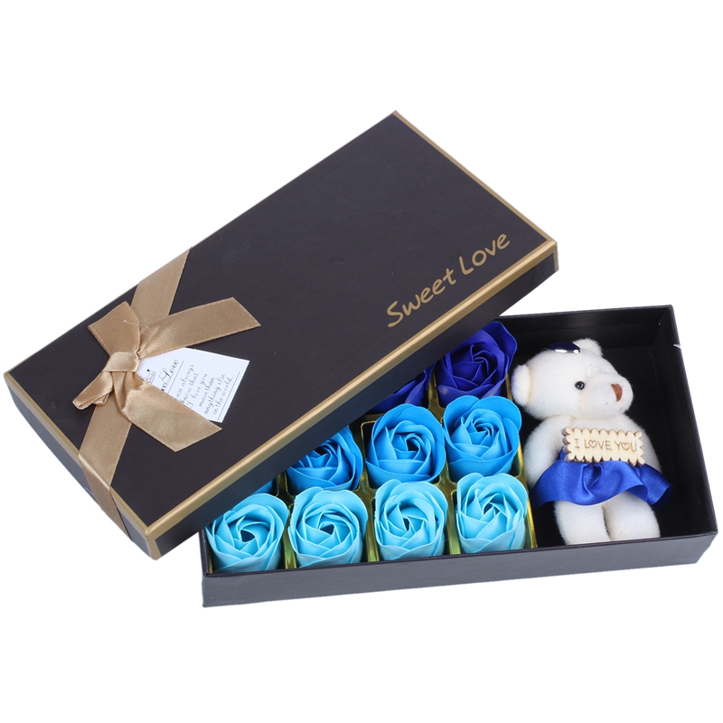 1 Box Rose Flower Soap Gift Box For Bath - Perfect Valentine's Day Gift With A Bear For Mother, Wife Or Girlfriend(Blue Gradient