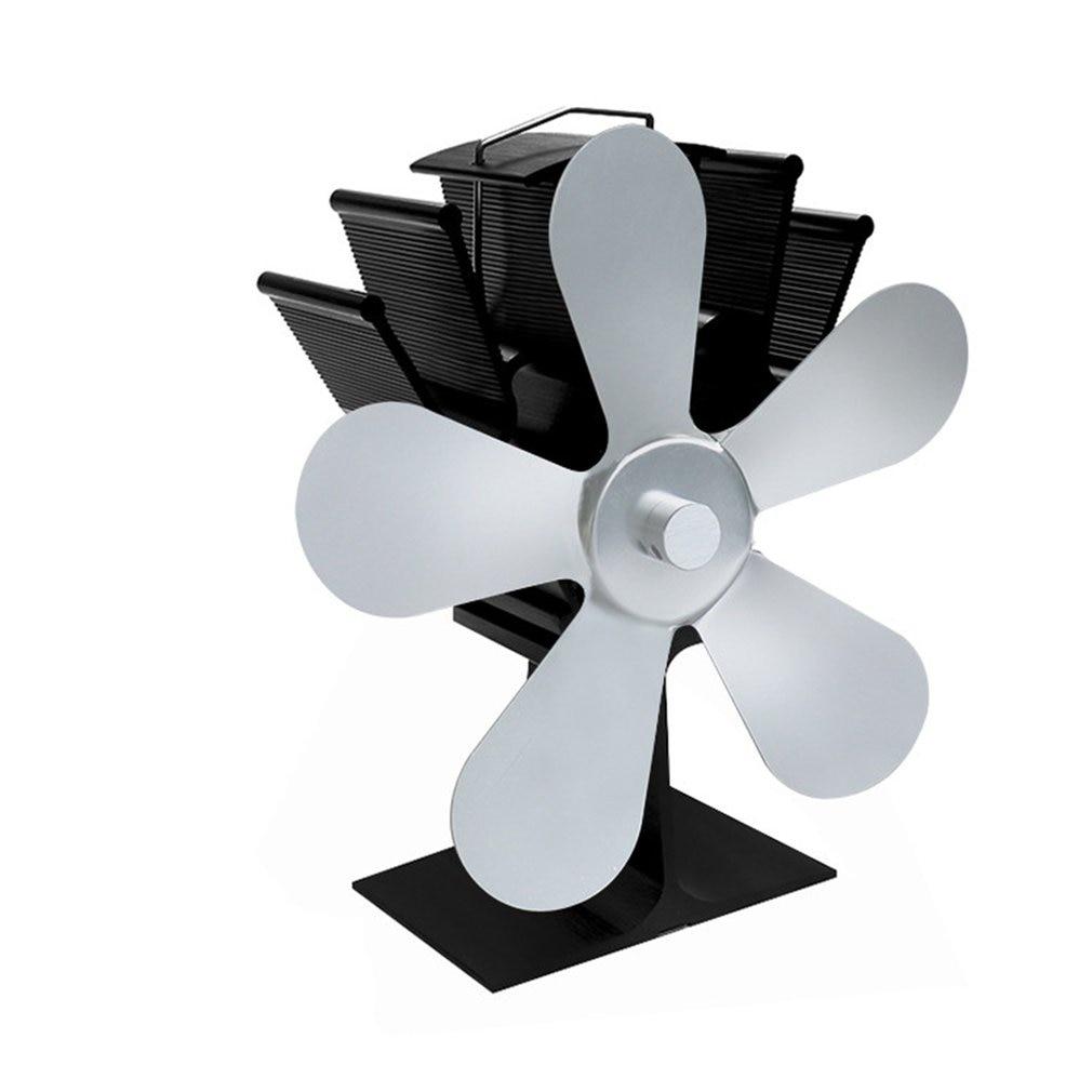 5 Blades Self-powered Heat Powered Stove Fan Home Silent Heat Powered Stove Fan Ultra Quiet Wood Stove Fan Fireplace Fan