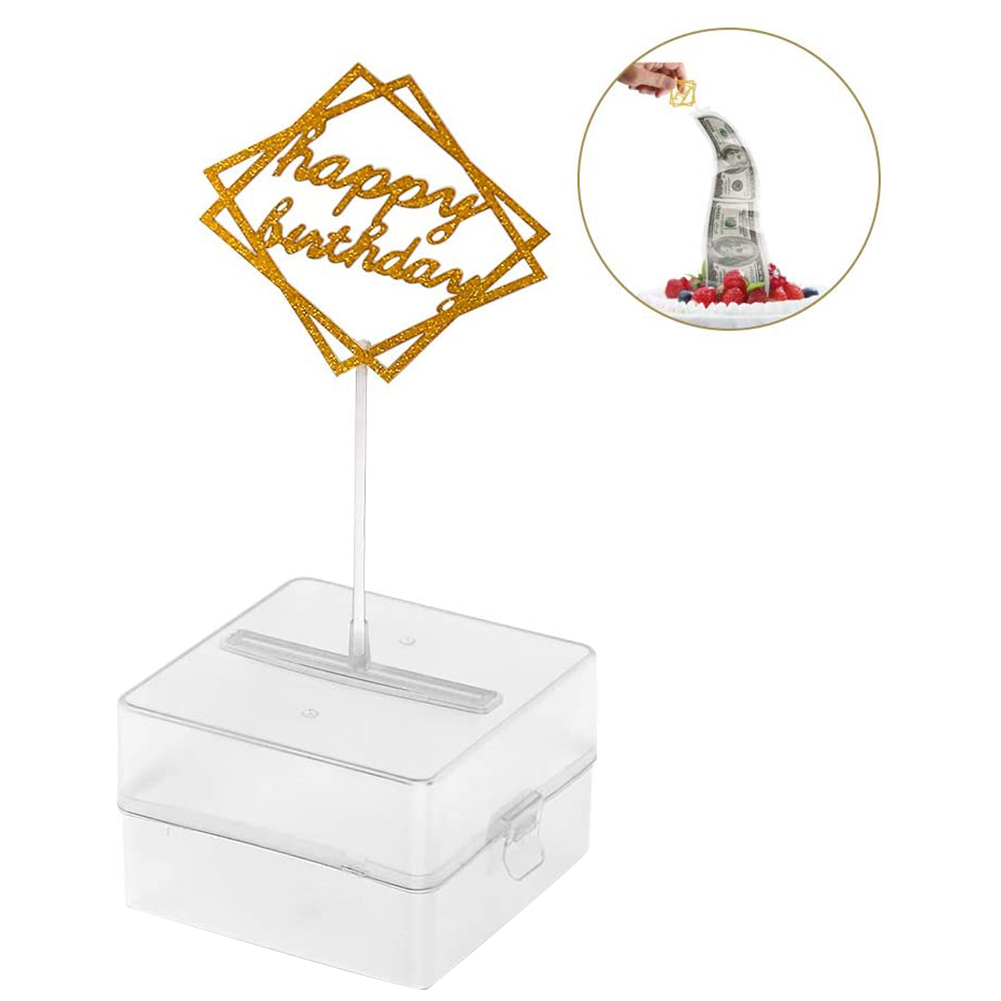 Dinheiro do bolo que puxa a caixa, bolo criativo reutilizável que faz o molde, decoração engraçada do bolo de aniversário da surpresa