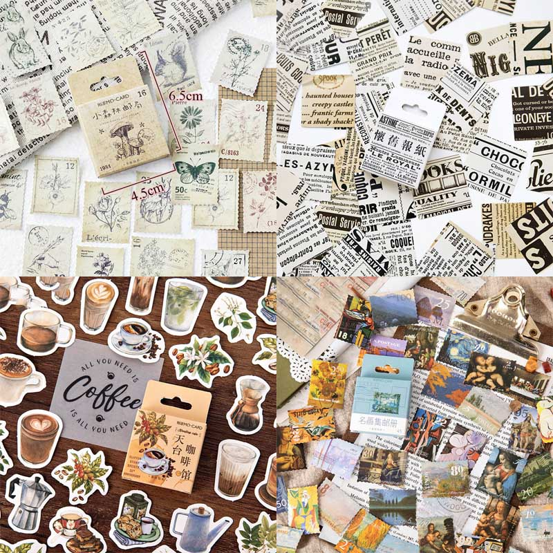 45pcs/box Stationery Stickers Vintage Stamp Sealing Label Travel Stickers Decorations Scrapbooking Diary Albums List Journal