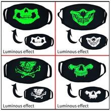Personality Trend Horror Skull Halloween Luminous Mouth Mask Unisex Thick Warm Cotton Fashion Fluorescent Women Men Face Mask
