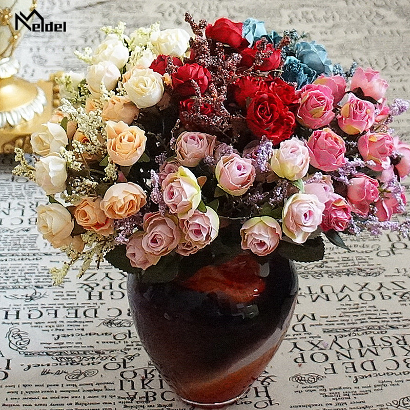 15 Heads Fabric Artificial Roses Branch Flowers Flannel Fabric Pink Fake Roses Flowers Craft Wedding Home Party Decor Fake Roses