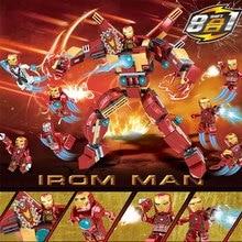 8pcs Avengers 4 Super Heroes Iron Man Building Blocks Bricks Boy Toys B698 dr tong 8pcs lot sy682 super heroes my little horse anna elsa princess girl toys bricks building blocks education toys kids gift