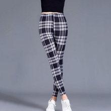 CUHAKCI-Legging Sexy pour femme, imprimé à carreaux, pantalon de Fitness, à rayures florales, à la mode, taille haute
