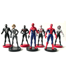 7 Pcs Action Toy Figures spiderman noir spiderman figure  black boneco vingadores  Iron Man spiderman toy  cake decoration model цена