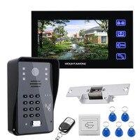 Mountainone 7 LCD RFID Password Video Door Phone Intercom System Kit + Electric Strike Lock + Wireless Remote Control unlock