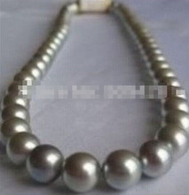 "925 +++18""11-12MM NATURAL SOUTH SEA GENUINE SILVERY GRAY PEARL NECKLACE PERFECT(China)"