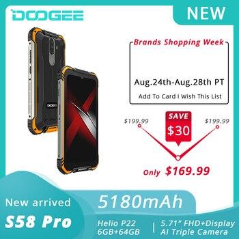 Перейти на Алиэкспресс и купить DOOGEE S58 Pro Мобильный Телефон IP68/IP69K водонепроницаемый прочный телефон 5180 мАч 5,71 дюймFHD + дисплей 6 ГБ + 64 ГБ Android 10 NFC Смартфон