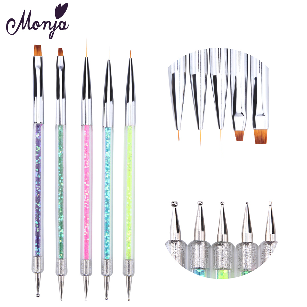 Monja Double End 5pcs/set Nail Art Acrylic Flower Design Painting Drawing Liner Brushes Dotting Pen Manicure Tools