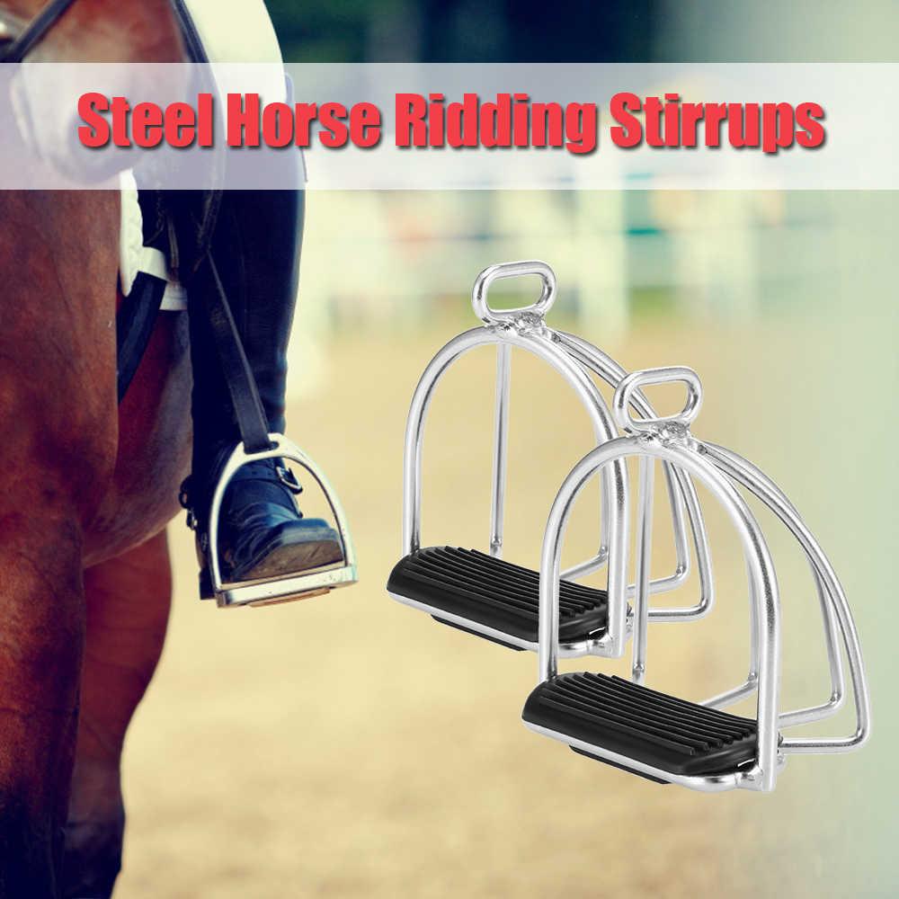 2 CHIẾC Lồng Cưỡi Ngựa Stirrups Flex Thép Ngựa Yên Xe Chống trượt Ngựa Đạp Chân Ngựa Thiết Bị An Toàn