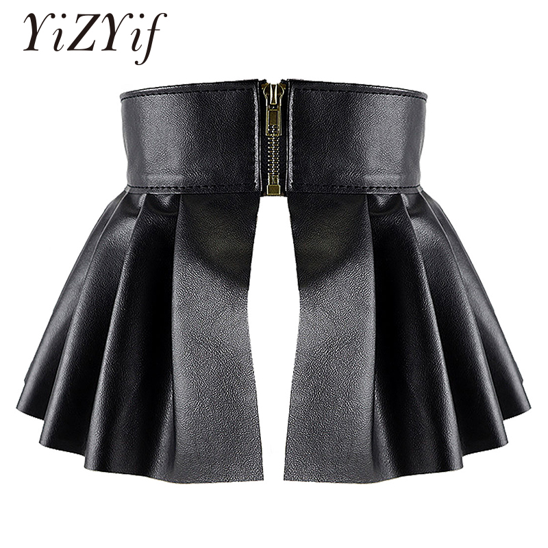 Pleated Skirts Wide Belts Women PU Leather Elastic Wide Waistband Classic Stretch Pleated Skirt Garters Peplum Cinch Belt Skirt