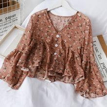 Блузка liva girl в корейском ретро стиле шифоновая рубашка с